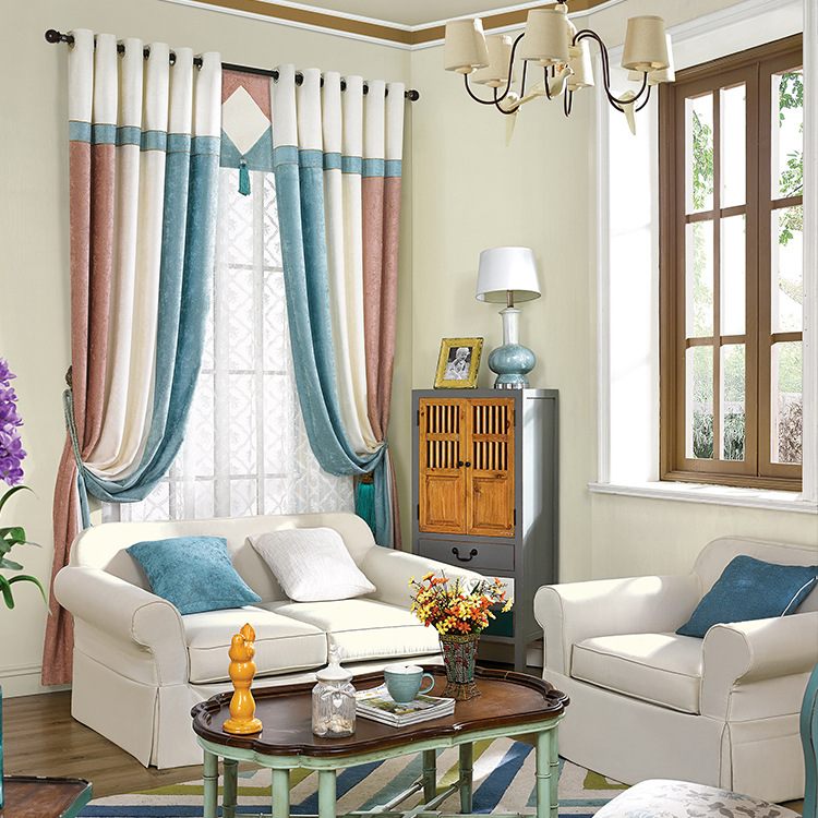 [Slow Soul] Curtain Cloth Curtains Bedroom Chenille Stitching French Window American  Style Striped For Living Room Luxury In Curtains From Home U0026 Garden On ...
