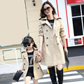 2016 Spring and Autumn family look mother and daughter clothes double - breasted in the long section of the girl 's coat