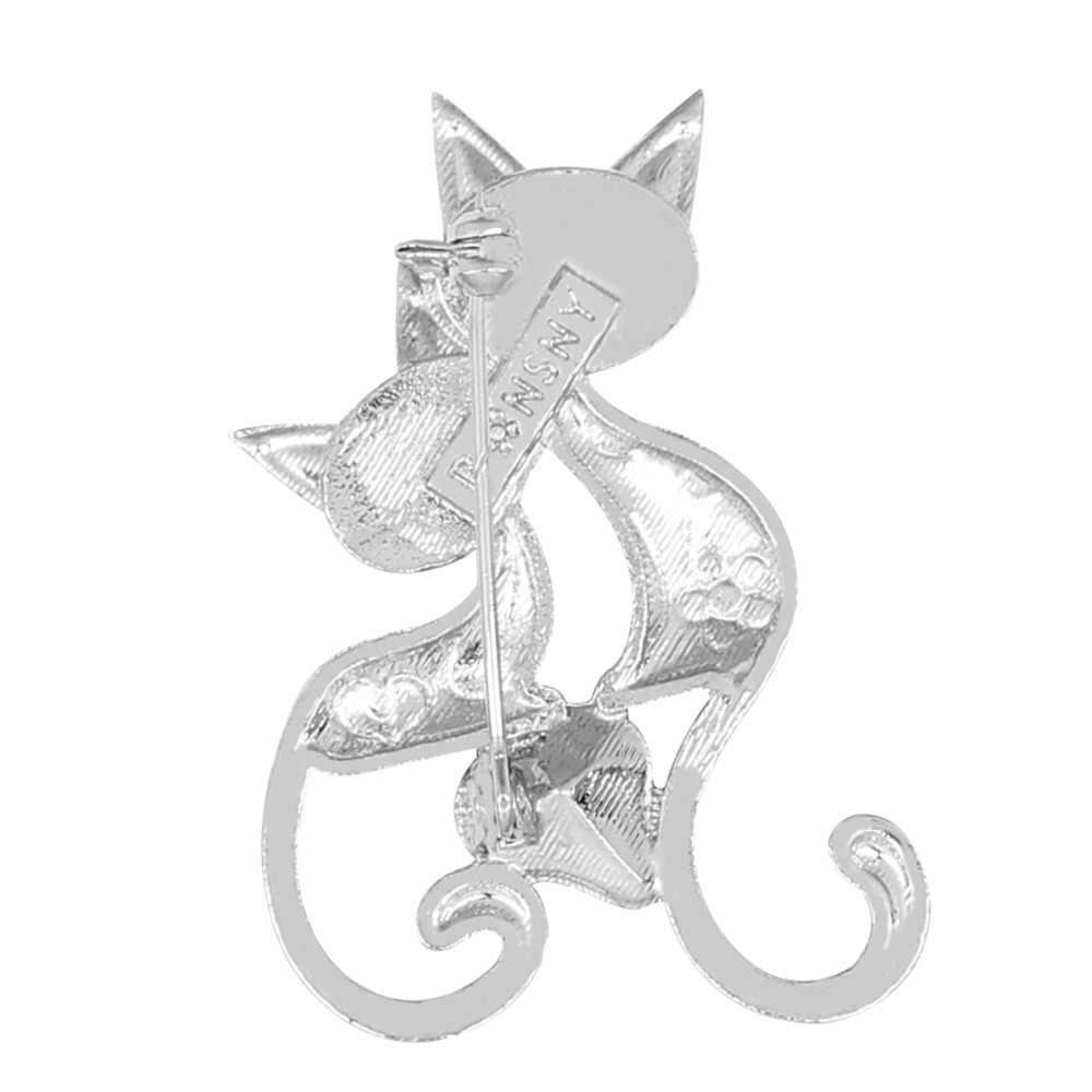 Bonsny Enamel Alloy Crystal Berlian Imitasi Double Kucing Bros Pin Perhiasan untuk Wanita Gadis Terbaik Teman Hadiah Syal Hewan Dekorasi