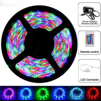 5pack/lot 5M 2835 300 SMD IP65 Waterproof Flexible LED Strip Light and IR Remote Controller +12V 2A Power Adapter Kit