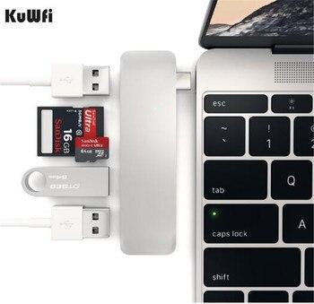 Leitor de Cartão USB 3.0 OTG 5 em 1 Metal Tipo-C TF leitor de Cartão USB HUB + SD TF leitor de cartão Micro SD Leitor de Cartão Para PC Portátil Telefone