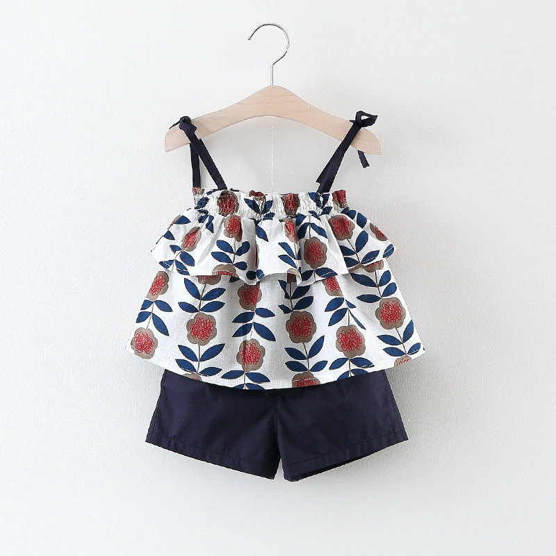 WYNNE GADIS Summer Beach Baby Bohemian Floral Print Spaghetti Strap Vest Blouse Shorts Kids 2Pcs Suits