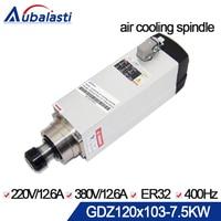 CNC spindle 7.5kw Spindle Motor 380V Current 15A air cooled spindle motor ER32 380V For CNC router machines