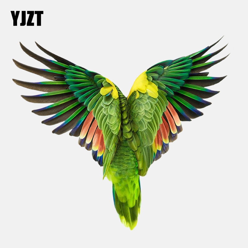 YJZT 14.1CM*12.6CM Back View Of Flying Parrot PVC High Quality Car Sticker 11-01488