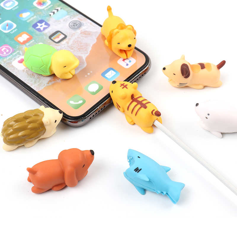 FFFAS Cable Bite Cute Dog Dolphin Shark Tiger Cat Animal Cable Protector Usb Cable Organizer Chompers Charger Wire Holder Winder