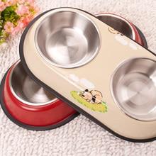Stainless steel double bowl dog pet cat food Fanpen