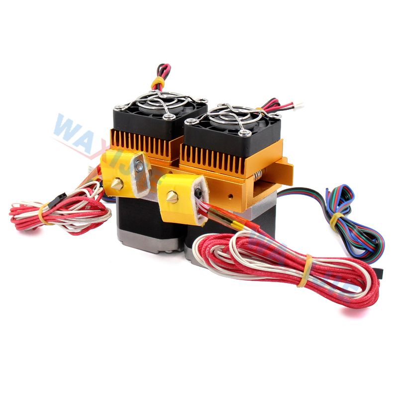 Double Hotend MK8 Extruder Kit Dual Head J head 0.4mm Nozzle 1.75mm Filament With Motor & Fan 3D Printer Parts