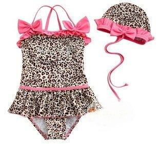 Children girl's one piece pink leopard print swimsuit  + swimming cap 2 pc set swimwear free shipping