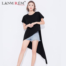 LANMREM 2018 New Summer Round Collar Black Personality Irregular Hem Short Sleeve Loose Women Casual Style T-shirt BA301
