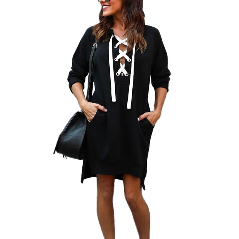 New Women Spring Autumn Casual Loose Long Slim Robe Black Gray Plus Size Full Sleeve Lace Up Neck Split Sweatshirt Dress