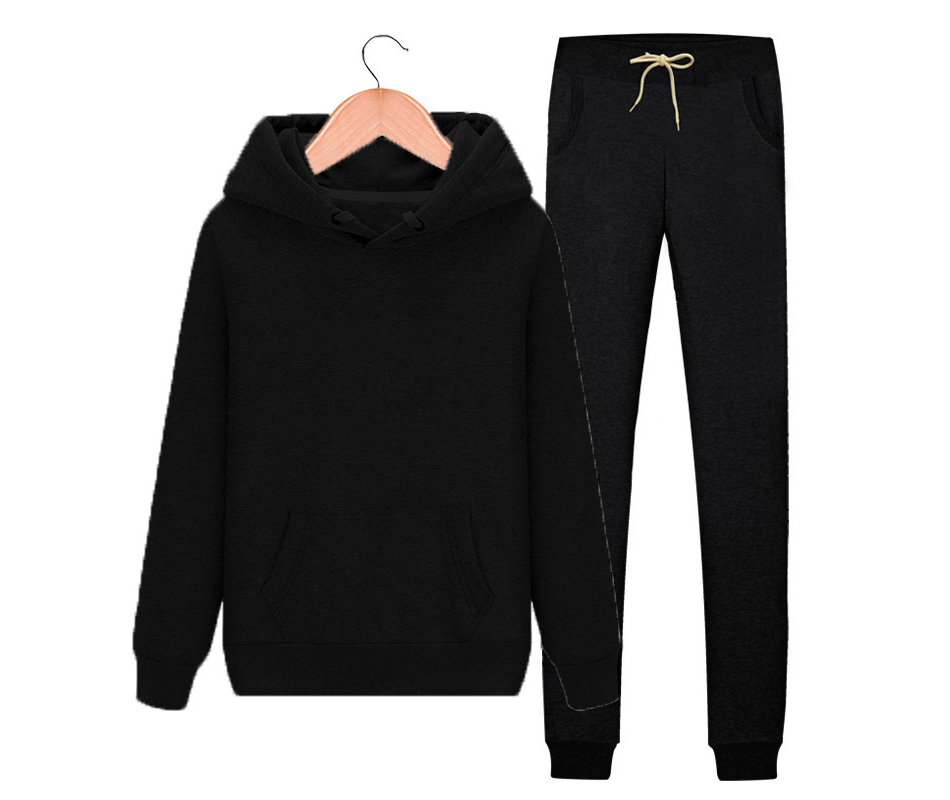 Women's Autumn Winter Cotton Tracksuit Hoodie+Splice Long Pants 2Pc Set 8