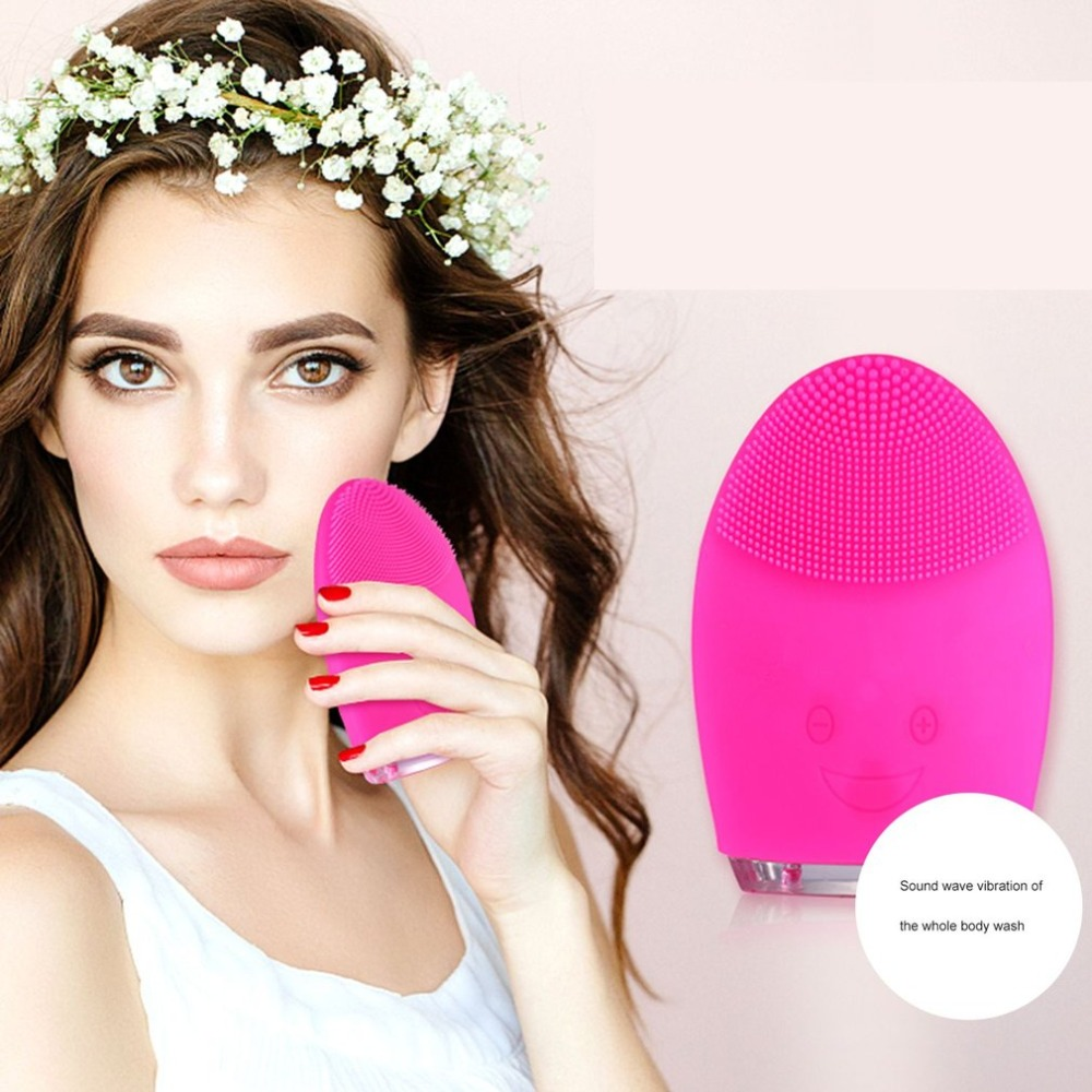 J-1 Electric Silicone Massage Sonic Facial Cleansing Brush Beauty Instrument Pores Cleaner USB Rechargeable Vibration Spa gift цена