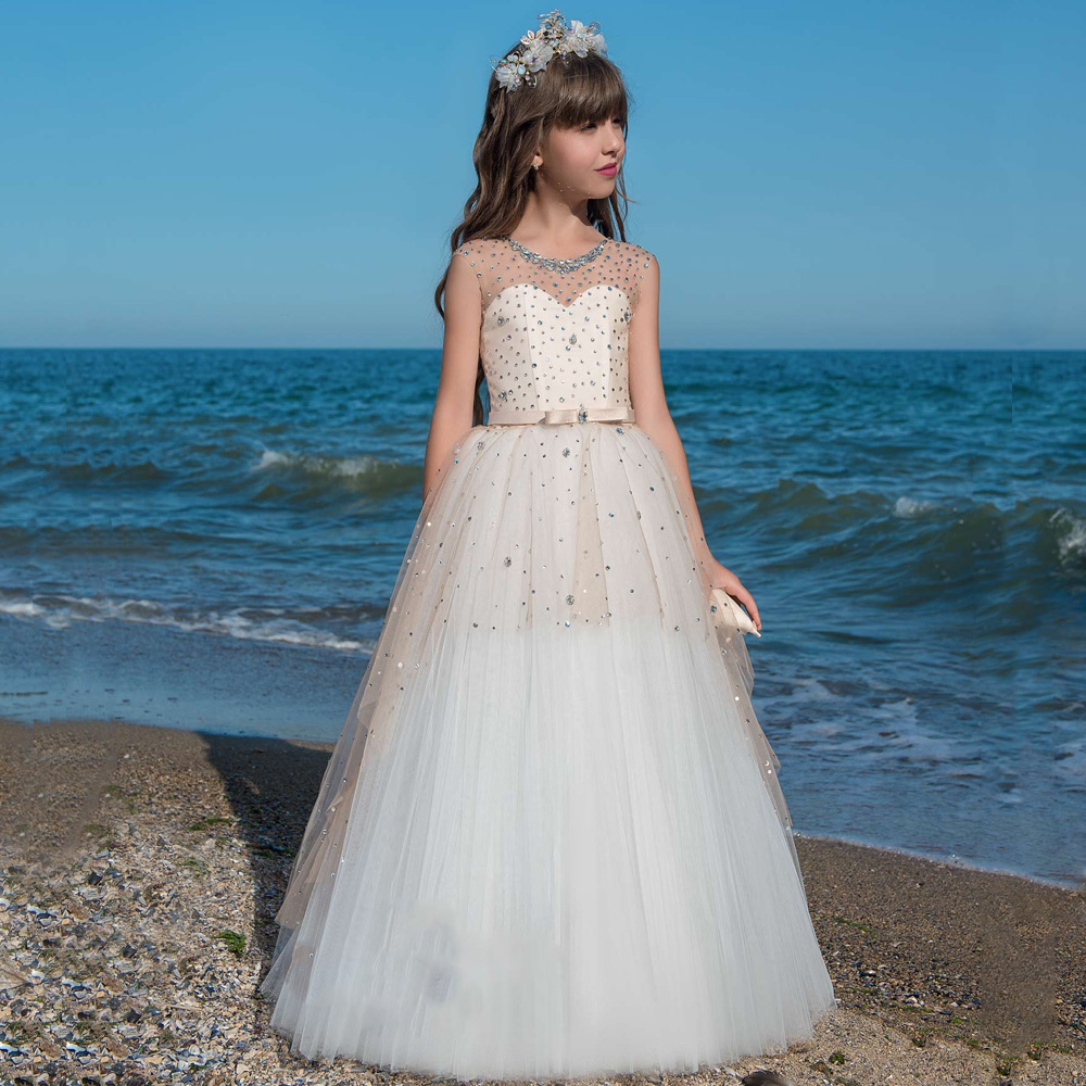 Sweet   Girls     Dresses   Beading Lace Up Back   Flower     Girl     Dress   For Wedding Customized   Girls   Pageant   Dress   Birthday Gown Size2-14 Y