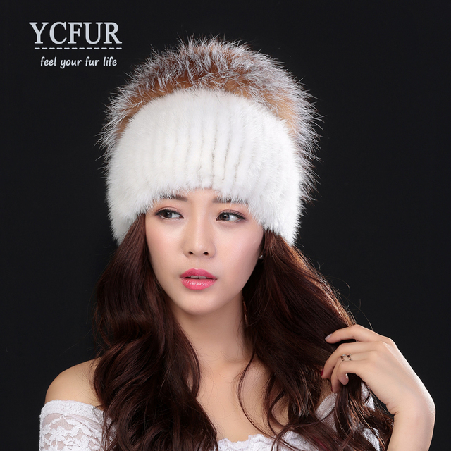 YCFUR New Arrival Luxury Women's Winter Hats Stripes Natural Mink Fur Caps With Silver Fox Fur Trims Flower Beanies Hats Mink
