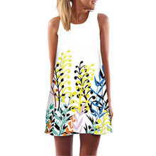 2019 Women's loose dress summer ladies round neck retro sleeveless 3D floral print Puff tank short mini polyester dress vestido(China)