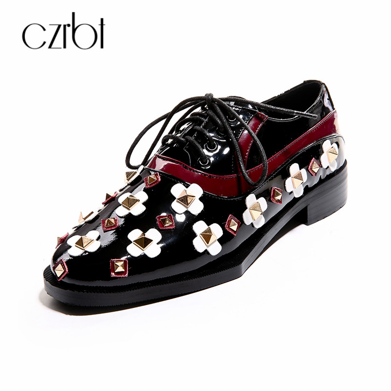 CZRBT Spring Autumn Women Shoes Classic Rivet Lace Up Oxfords Shoes Flat Shoes Black Round Toe Casual Flats Leather Shoes 34-40 czrbt classic genuine leather women 2018 spring autumn lace up leather shoes women solid color round toe flat shoes casual flats