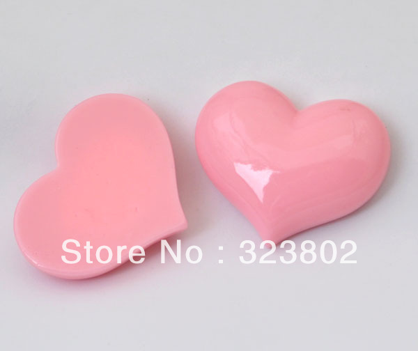 50MM Pink Heart Flatback Resin Cabochon Cell Phone Case DIY Handmade Decoration Accessory 12PCS