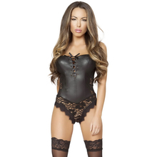 2017 Women Sexy Lingerie Teddies Faux Leather Vinyl And Lace Floral Strapless Vintage Roma Costume Gothic Underwear Bodysuit