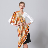 Fashion Printing Silk Scarf Large Size 110 110 Female Square SILK Scarves Women Sunscreen 100 Real