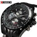 2017 nueva moda curren auto fecha reloj de acero llena militar ocasional del hombre de negocios reloj de pulsera de cuarzo marca de relojes hombre macho