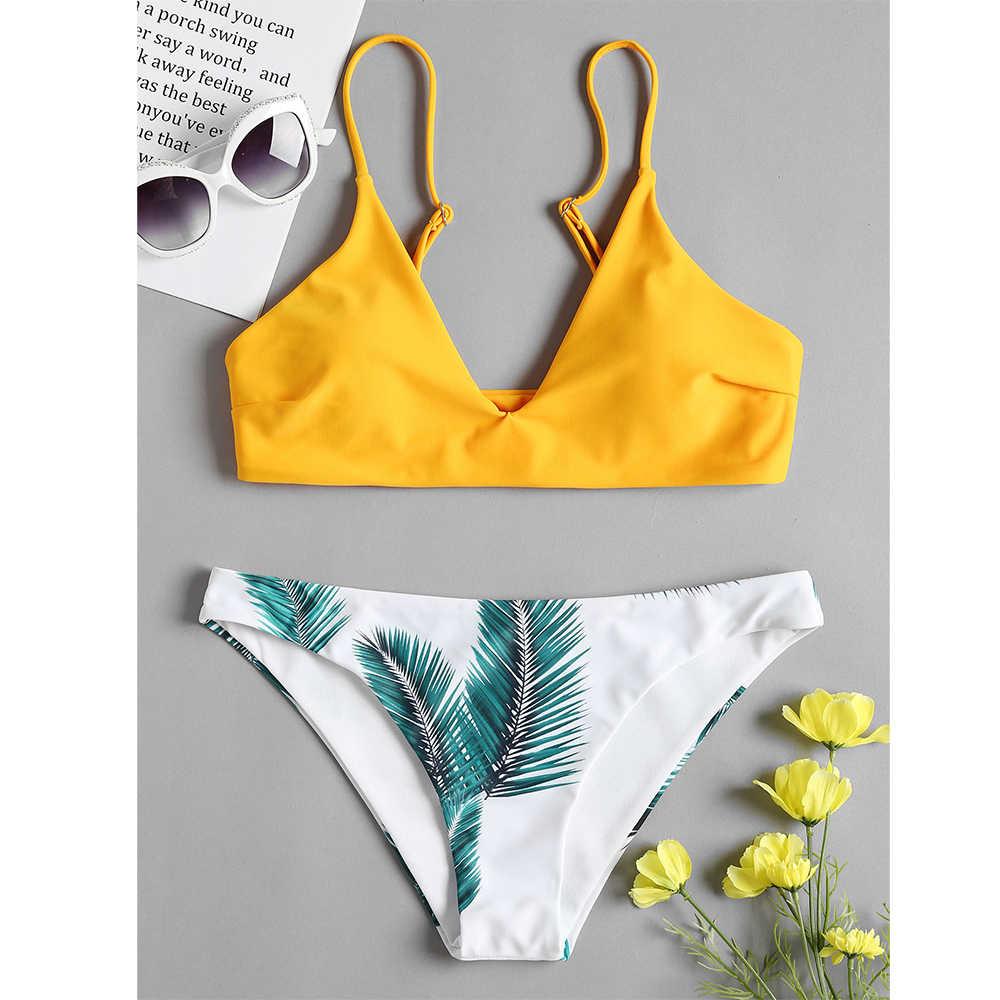 cb0f084636 ZAFUL 2019 Padded Bra and Leaf Print Bottoms Bikini Set Mid Waist Swimwear  Swimsuit Summer Beachwear Biquini