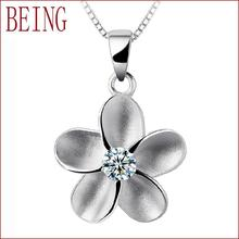 Hot new high-quality women charm sterling silver pendants fine jewelry zircon crystal flower design pendant necklace  wholesale