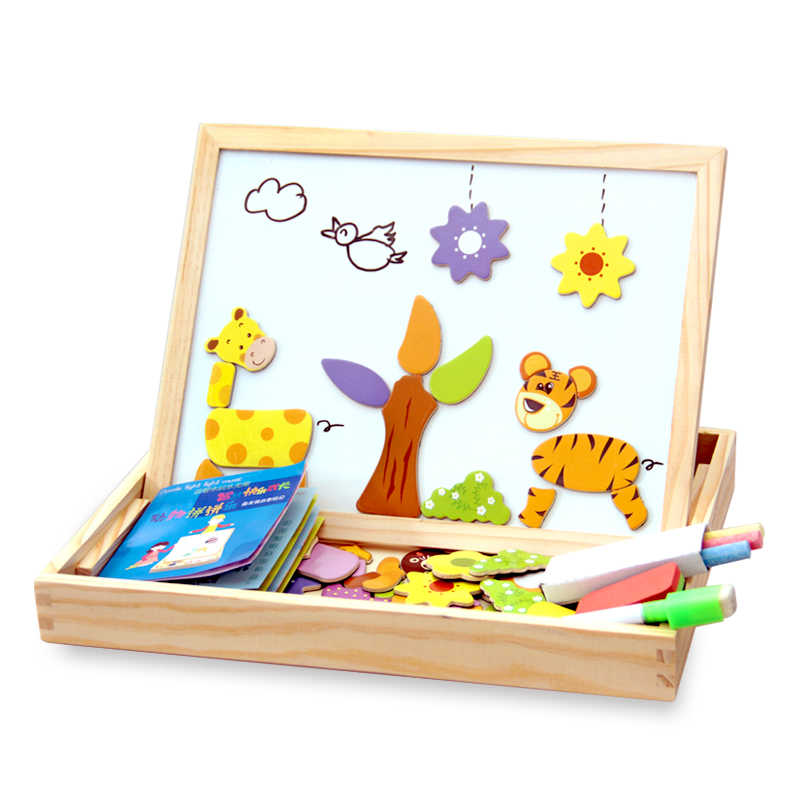 100 + PCS Enigma Magnético De Madeira Figura/Animais/Veículo/Circo Prancheta 5 estilos Caixa de Brinquedo Educativo etiqueta do presente Do Presente Do Bebê