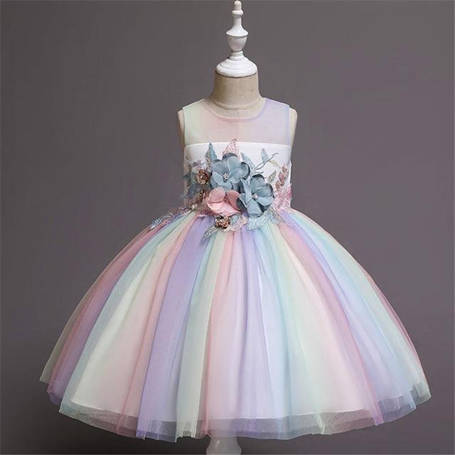 New Rainbow Girl Unicorn Tutu Dress Fancy Pony Unicorn Wedding Bridesmaid Costume for Kids Princess Carnival Party Dress Vestido