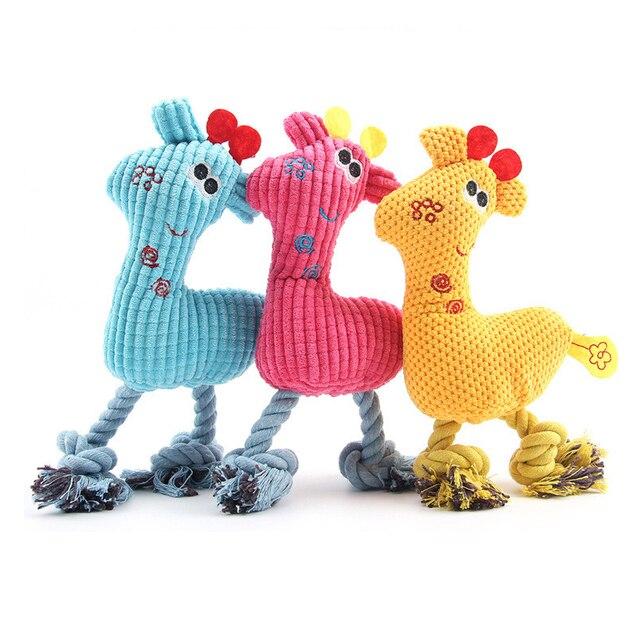 26*15 cm Cani Chew Toys Flanella di Cotone Animale Girrafe Modello Squeak Corda