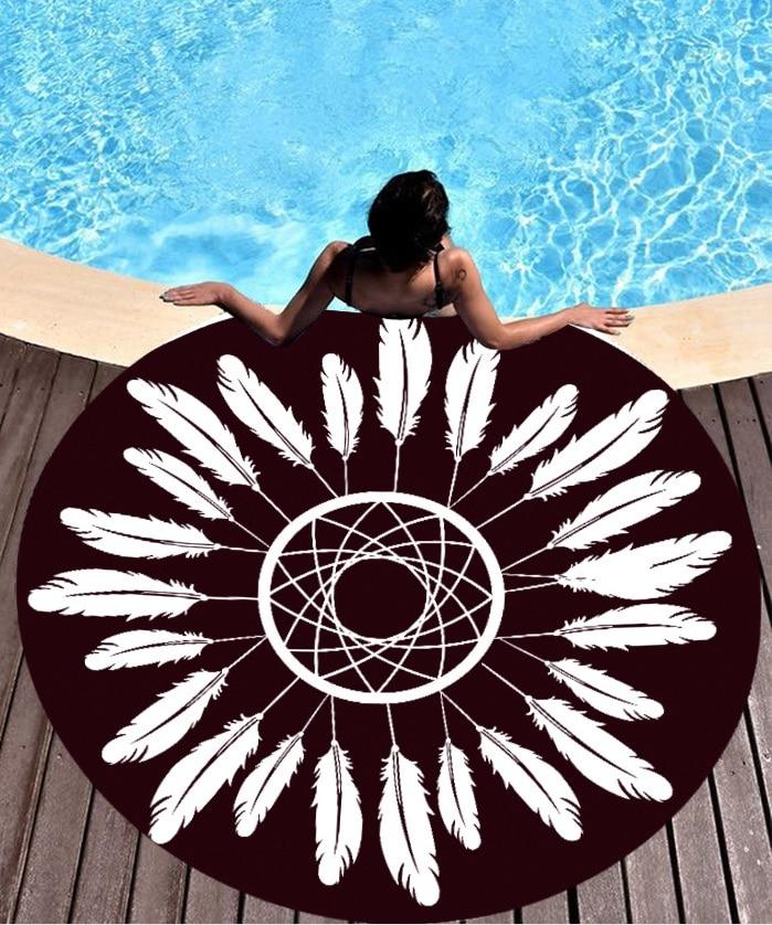 Wholesale Hot Style Round Sun Protection Beach Towel Yoga Cushion Beach Towel St06-36