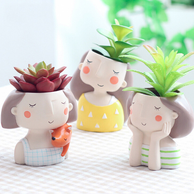 Mini Cute girl boy Planter Flower Pot Home Garden Home Decoration Flowerpot Planter Desktop Vase Home Office Bonsai Pot 2