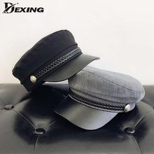 Fashion PU Leather Military Hat Autumn Winter Wool Sailor Hat For Women Men Black flat top Female travel cadet hat Captain Cap(China)