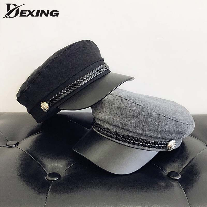 Fashion PU Leather Military Hat Spring Summer Wool Sailor Hat For Women Men Black  Flat Top  Female Travel Cadet Hat Captain Cap