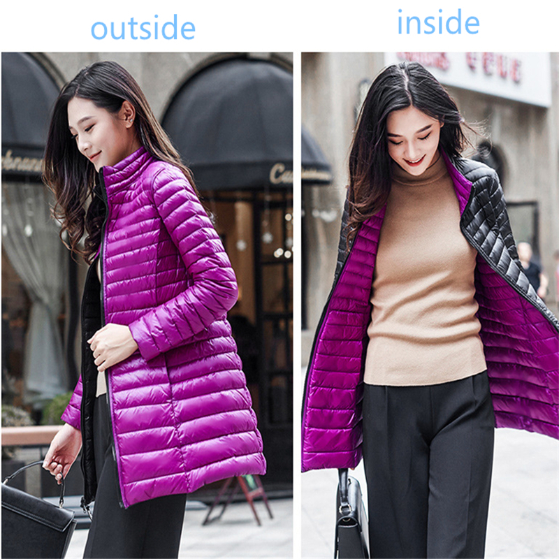 763ba1e4a91a4 Winter Reine Farbe Größe Damen Lange Jacken Beide Seiten Können tragen  Mädchen Casual Daunenjacke Mode Dünne Heiße Weibliche Langen Mantel