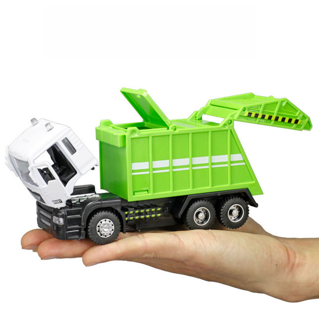 1:48 Garbage Truck Trash Bin Lorry Toy Vehicle Diecast Model Car Boy Kid Gift