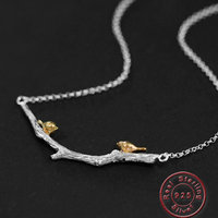Amxiu Handmade 925 Sterling Silver Necklace Branch Birds Pendant Necklace Jewelry For Women Mother's Gift Choker Accessories
