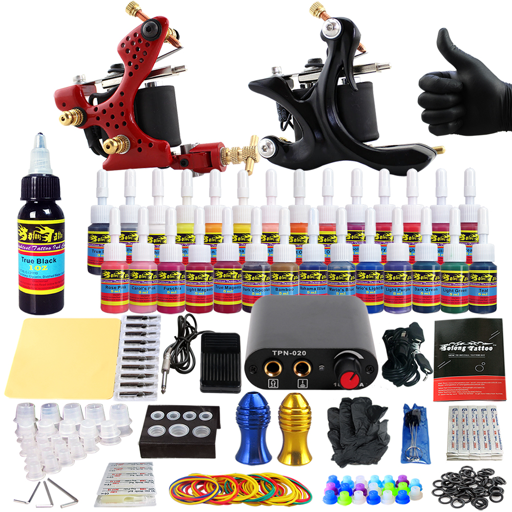 Solong Tattoo complete professional 2 tattoo Machine Guns set Tattoo Kit 28 Inks Needle Grips power supply TK204-28 europe god of darkness robert recommend gp self lock grips gp3 professional tattoo artist grip