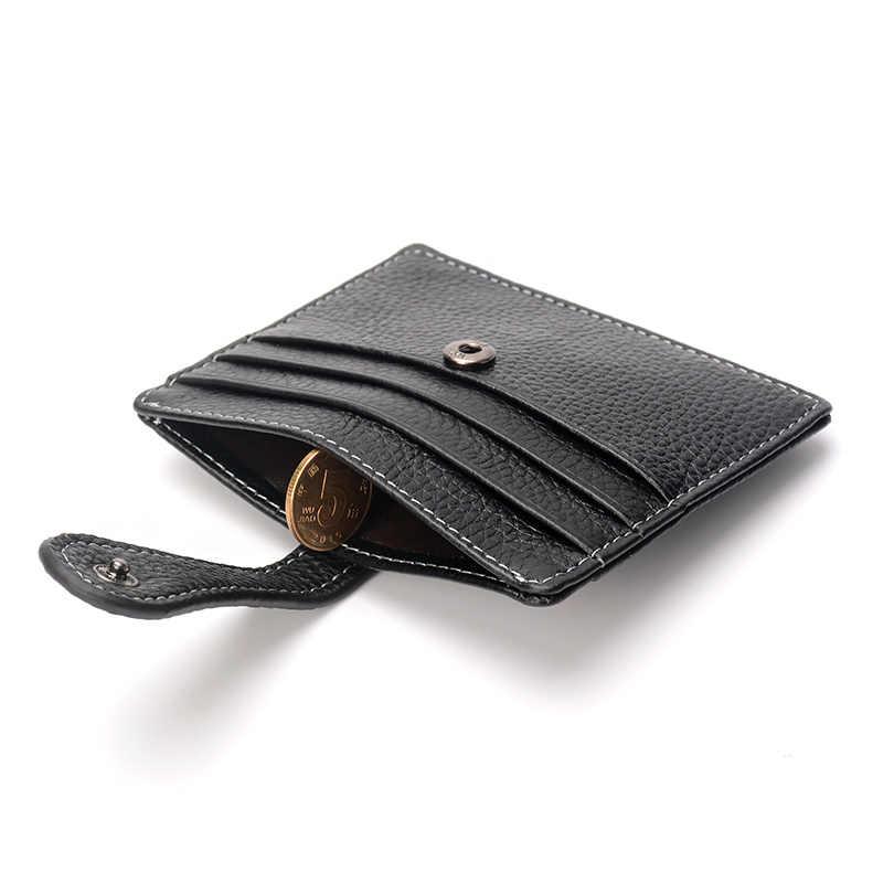¡Cartera de tarjeta de cuero genuino de marca COHEART pequeño monedero de tarjeta de crédito Cartera de hombre de cuero de vaca de calidad superior!
