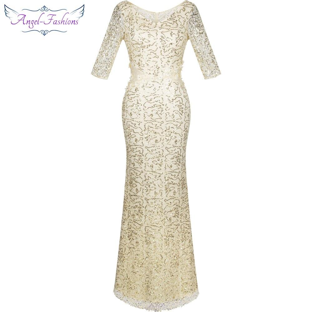 Angel-fashions Half Sleeves Sequined Mermaid Long Evening Dress Abendkleid  Ivory 214