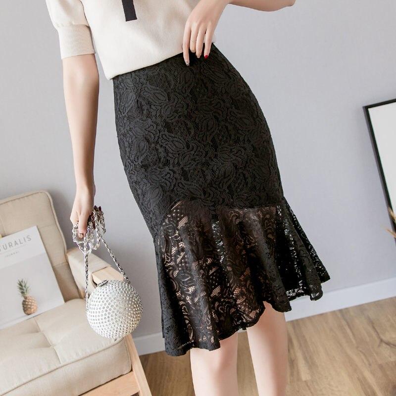 3714bad7f Verano de 2019 MODA DE COREA falda mujeres falda de encaje negro falda de  sirena falda mujeres falda ...