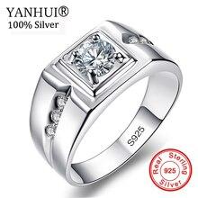 Купить с кэшбэком YANHUI Vintage Men Ring 925 Sterling Silver Wedding Rings for Men Set 1 Carat CZ Diamant Engagement Rings US Sizes #6-13 NRJ29
