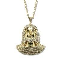 Gold-Ton Charme Jesus Anhänger Halskette für Männer Frauen Hip Hop Schmuck Gold Chunky Kette Lange Halskette