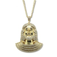 Gold Tone Charm Jesus Pendant Necklace For Men Women Hip Hop Jewelry Gold Chunky Chain Long