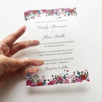 20 Pieces Per Lot 5x7inch Floral Watercolor Style Frosted Acrylic Wedding Invitation Cards