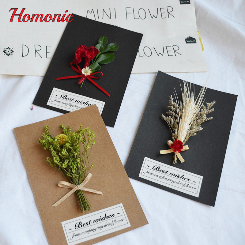 10psc Dry Flower Invitation Greeting Card Christmas