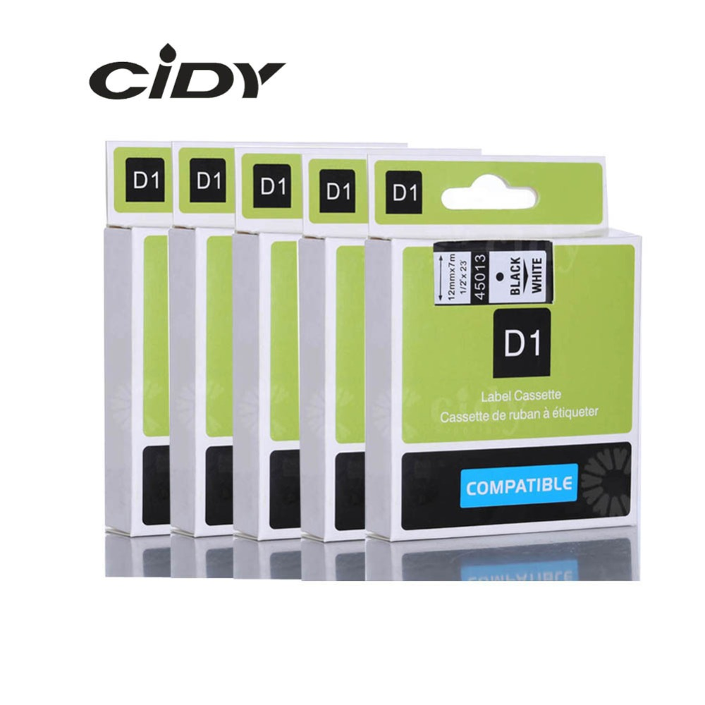 CIDY 5pcs 45013 Label Tape Compatible Dymo D1 Labelmanager 12mm Black On White 45010 45018 45021 40913  For DYMO LM160 LM280 PNP