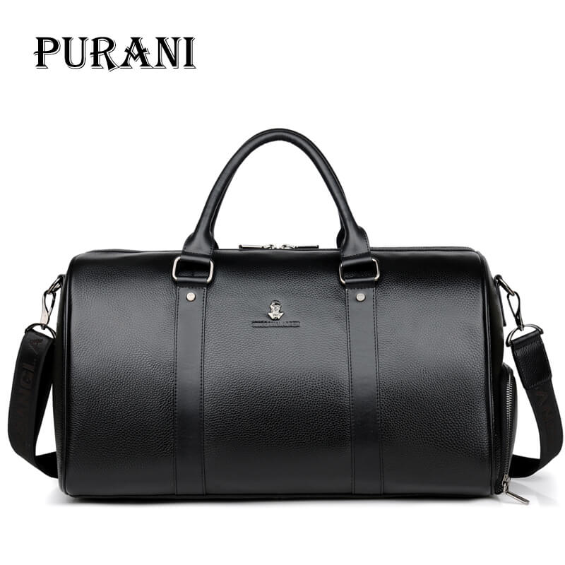 PURANI 100% Genuine Leather Men Travel Bags Overnight Duffel Bag Weekend Travel Large Business Tote Bags Crossbody Travel Bags m large duffel bag travel bags