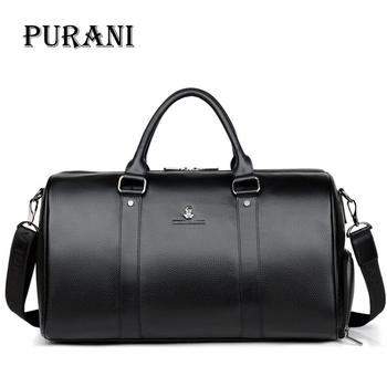 PURANI 100% Genuine Leather Men Travel Bags Overnight Duffel Bag Weekend Travel Large Business Tote Bags Crossbody Travel Bags men travel bag genuine leather large capacity travel trip duffel bag hand luggage crossbody bags tote men s handbags bolsahombre