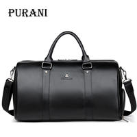 PURANI 100% Genuine Leather Men Travel Bags Overnight Duffel Bag Weekend Travel Large Business Tote Bags Crossbody Travel Bags