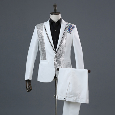 100%real Mens Black/white Beading Performance Jacket/party/dance/sing/bar/reception/stage Performance/jacket &pants